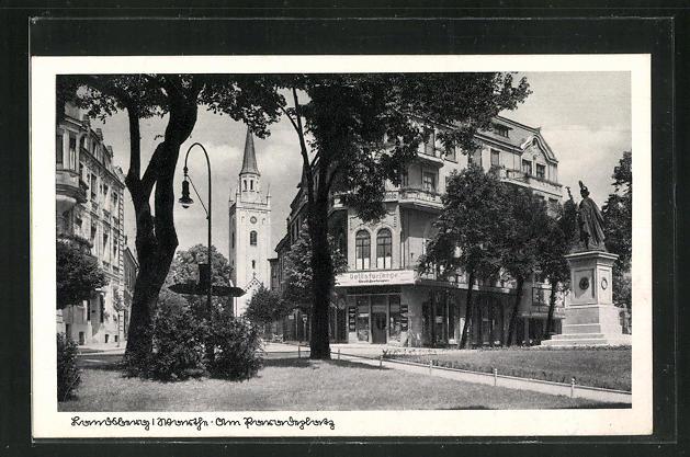 AK Landsberg / Gorzow Wlkp, Volksfürsorge und Denkmal am Paradeplatz 0