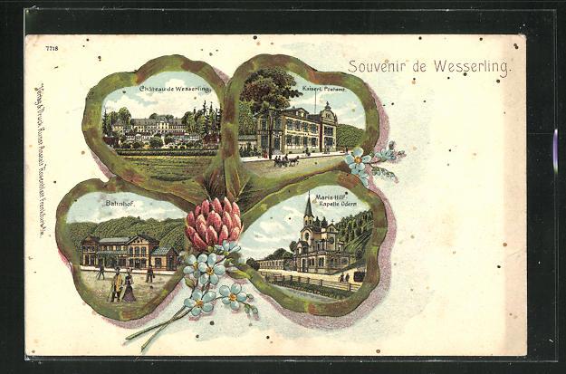 Lithographie Wesserling, Bahnhof, Maria-Hilf-Kapelle, Kaiserl. Postamt, Ansichten auf Kleeblatt 0