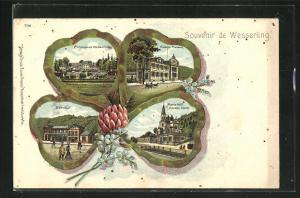 Lithographie Wesserling, Bahnhof, Maria-Hilf-Kapelle, Kaiserl. Postamt, Ansichten auf Kleeblatt