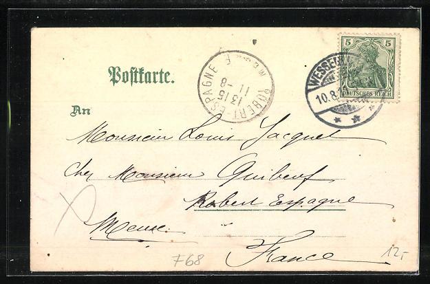 Lithographie Wesserling, Bahnhof, Maria-Hilf-Kapelle, Kaiserl. Postamt, Ansichten auf Kleeblatt 1