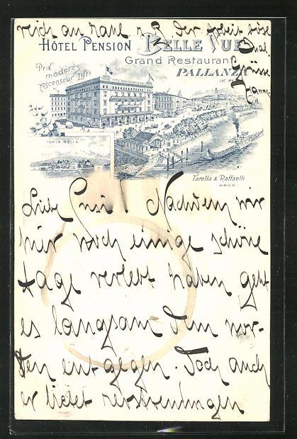 Lithographie Pallanza, Hotel-Pension Belle Vue, Isola Bella 0