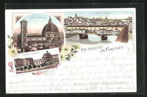 Lithographie Firenze, La Cattedrale, Piazza Cavour, Ponte Vecchio