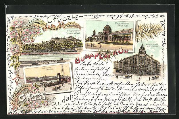 Lithographie Budapest, Nationaltheater, Kettenbrücke, Margarethenbad 0