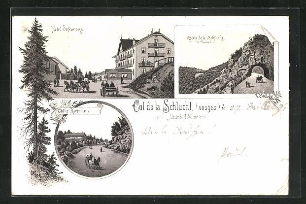 Lithographie Cole de la Schlucht, Hotel Defranoux, Route de la Schlucht, Chalet Hermann 0