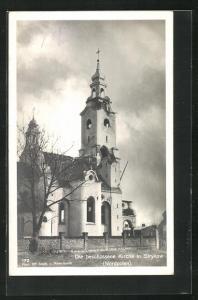 AK Strykow, Die beschossene Kirche, 1. Weltkrieg