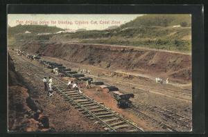 AK Culebra Cut, Men drilling poles for blasting, Canal Zone