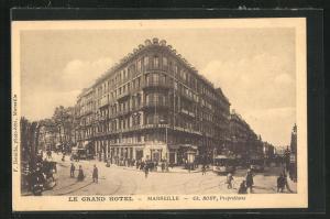 AK Marseille, Le grand hotel, Strassenbahn