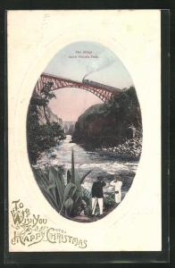 AK Bridge below Victoria Falls, Wish you a Happy Christmas, Eisenbahnbrücke