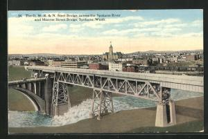 AK Spokane, WA, Steel Bridge, across the Spokane River and Monroe Street Bridge