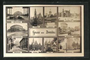 AK Breslau, Jahrhunderthalle, Hauptbahnhof, Rathaus, Dom