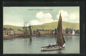 AK Ramsey, Harbour, Hafen mit Segelschiff