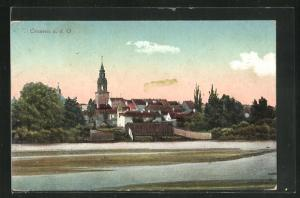 AK Crossen / Krosno Odrz, Panorama mit Kirche