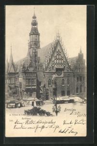 AK Breslau, Strassenpartie am Rathaus