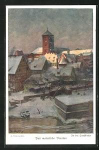 Künstler-AK Breslau, An der Sandkirche