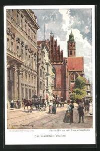 Künstler-AK Breslau, Oberpräsidium mit Dominikanerkirche