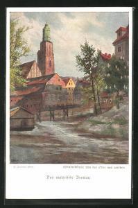 Künstler-AK Breslau, Elisabethkirche von der Oder aus
