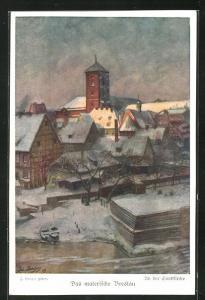 Künstler-AK Breslau, Partie an der Sandkirche im Winter