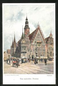Künstler-AK Breslau, Strassenpartie am Rathaus