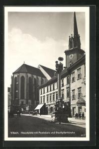AK Villach, Hauptplatz mit Pestsäule und Stadtpfarrkirche