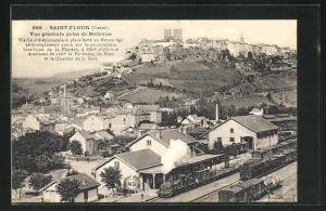 AK Saint-Flour, vue générale prise de Bellevue, Bahnhof