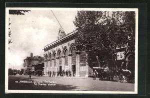 AK Marseille, La Gare St-Charles, Bahnhof