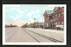 AK Portage, WI, C.M. & St.P.Ey. Station, Bahnhof