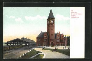 AK Milwaukee, WI, Chicago North-Western Depot, Bahnhof