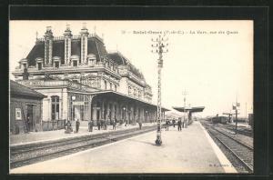 AK Saint-Omer, La Gare, vue des Quais, Bahnhof