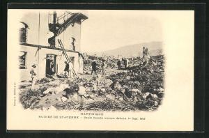 AK St-Pierre, Ruines, Seule facade encore debout 1er Sept. 1903