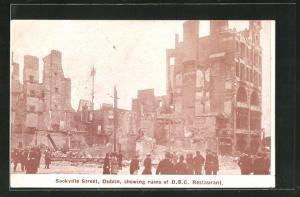 AK Dublin, Sackville Street, showing ruins of D.B.C. Restaurant, Osteraufstand