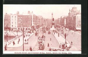 AK Dublin, Sackville Street and O'Connell Bridge, Before the Rising 1916, Osteraufstand
