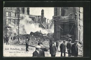 AK Dublin, Iish Rebellion May 1916, Sackville Street in ruins, Osteraufstand