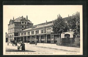 AK Macon, La Gare P.L.M., Bahnhof