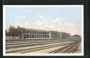AK Needles, CA, El Garges, Santa Fe Hotel, Bahnhof