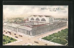 AK New York, NY, Bird's Eye View of P.R.R. Station, Bahnhof
