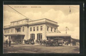 AK Madisow, WI, C. & N. W. Depot, Bahnhof