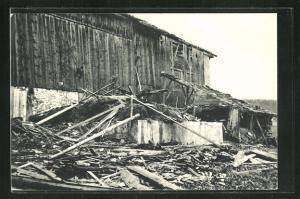 AK La Chaux-de-Fonds, Cylone 1934, Les Crosettes, Ferme Hauri detruite, Vom Unwetter zerstörtes Haus