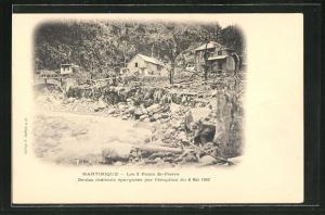 AK St-Pierre, Les 3 Ponts, Seules maisons epargnees par l`eruption 1902