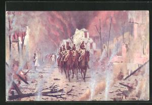 AK V. V. Verestchaguine: Le retour du Palais Pierre, Soldaten in Uniformen zu Pferde