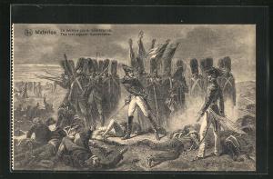 AK Waterloo, Le dernier carre Cambronne, Soldaten in Uniformen mit Gewehren