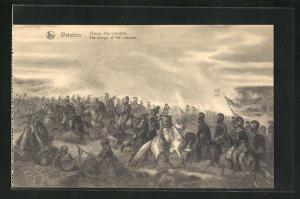 AK Waterloo, Charge des Lanciers, Soldaten in Uniformen zu Pferde