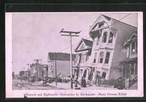 AK San Francisco, CA, Howard and Eighteenth, Destruction by Earthquake 1906, Many Persons Killed