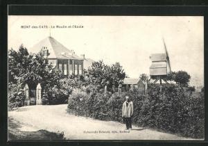 AK Mont-des-Cats, Le Moulin et l`Ecole, Windmühle