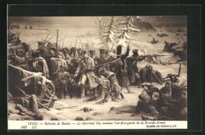 AK Retraite de Russie, Le Maréchal Neu soutient..., nach Gemälde von Yvon