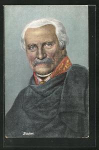 AK Blucher, Portrait des Heerführers