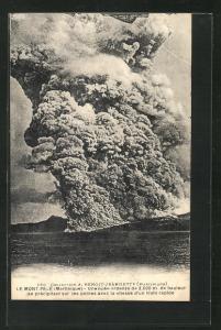 AK Le Mont-Pelé, Une nuée ardente..., Vulkanausbruch