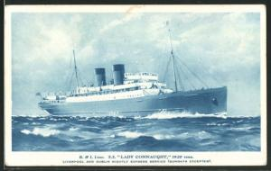 AK Passagierschiff S.S. Lady Connaught bei unruhiger See
