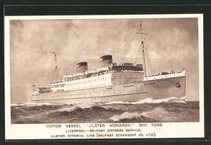AK Passagierschiff Ulster Monarch bei stürmischer See