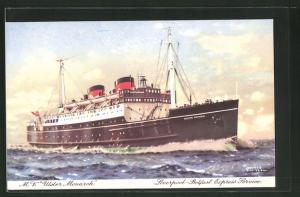 Künstler-AK Passagierschiff M.V. Ulster Monarch bei voller Fahrt
