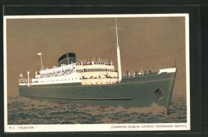 AK Passagierschiff M.V. Munster bei voller Fahrt
